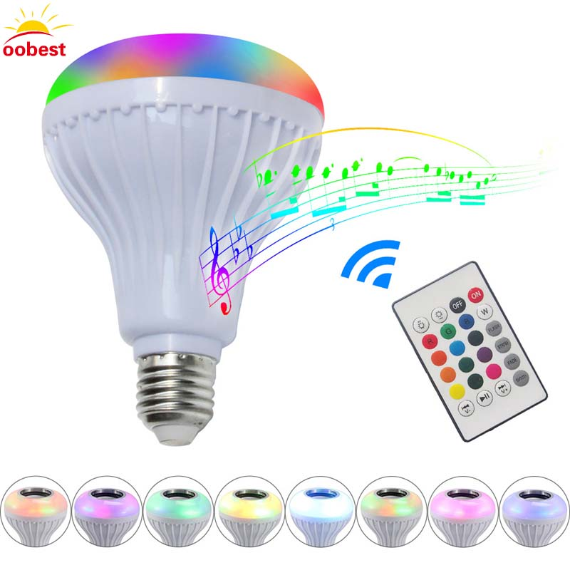oobest E27 Smart LED Bulb RGB RGBW Wireless Bluetooth Speaker Bulb Music Playing Dimmable Light Lamp with 24 Keys Remote Control szyoumy e27 rgbw led light bulb bluetooth speaker 4 0 smart lighting lamp for home decoration lampada led music playing