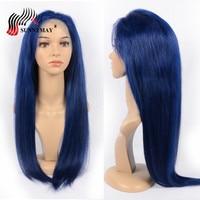 Sunnymay темно синие полные парики человеческих волос шнурка прямые предварительно сорванные отбеленные узлы полный парик шнурка с волосами м