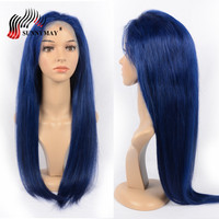 Sunnymay Navy Blue Full Lace Human Hair Wigs Straight Pre Plcuked Bleached Knots Full Lace Wig With baby Hair 130% Density
