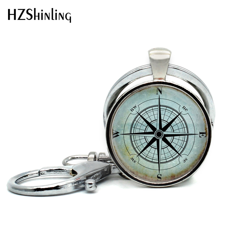2017 New Fashion Nautical Compass Keychain Handmade Glass Dome Mariner's Compass Pendant Keyring For Sailing Boating Key Chain