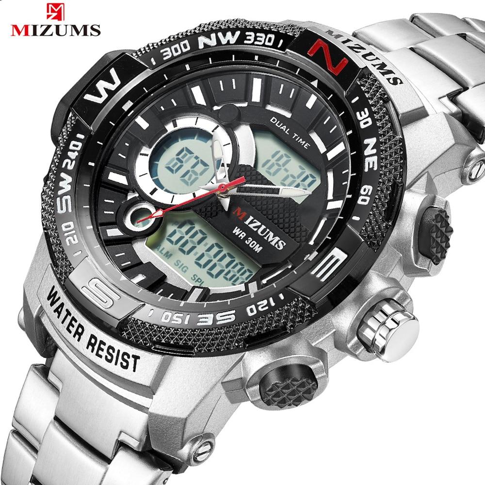 Men Military Sport Watches Analog Digital Watch Male Army Stainless Steel Wristwatches Quartz Clock