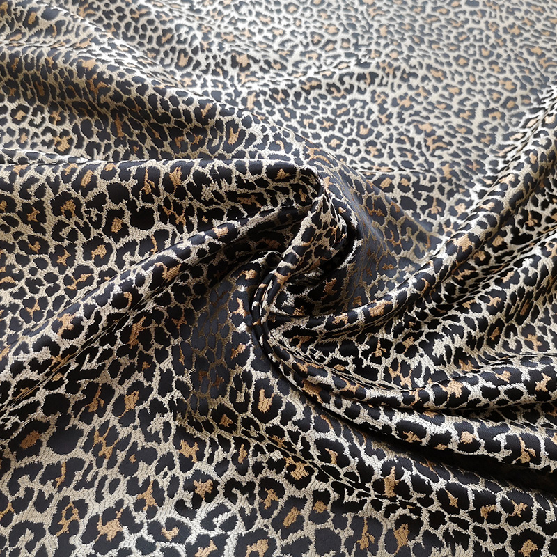 50X160CM Leopard print Yarn dyed Jacquard Skirt Fabric Spring And Summer Dress Windbreaker Coat Brocade Fabric in Fabric from Home Garden