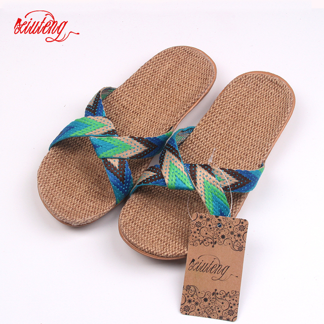 2019 Fashion Flax Home Slippers Indoor Floor Shoes Cross Belt Silent Sweat Slippers For Summer Women Sandals 1