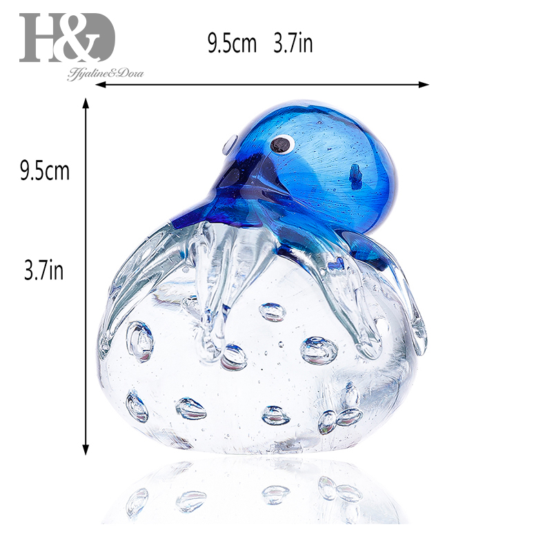 Handmade Glass Octopus Ornament Art Glass Blown Sea animal Figurine Decor Gift