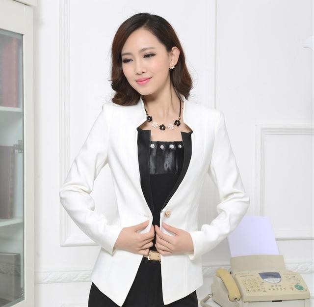 Branco elegante Mulheres Estilo Uniforme Blazers de Negócios Formal Desgaste do Trabalho Feminino Blazer Casacos Tops Senhoras Escritório Casaco Blaser Roupas