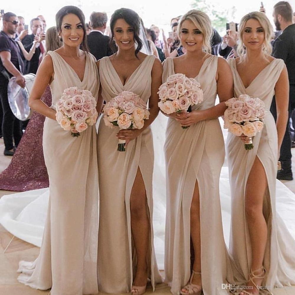 2019 Sexy Long Gold Bridesmaid Dresses Deep V Neck Empire Split Side Champagne Beach Boho Wedding Guest Dresses