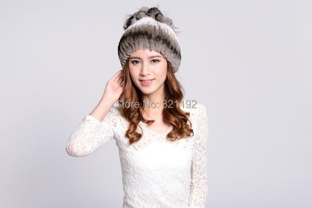 Female autumn winter plus size Elegant genuine leather rex rabbit hair strawhat fur hats women gradient knitted fur hat