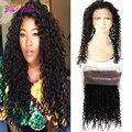 Предварительно Сорвал 360 Кружева Фронтальная Вьющиеся Переплетения Человеческих Волос Закрытие перуанский Девы Волос Afro Kinky Вьющихся Волос 360 Кружева Фронтальная закрытие