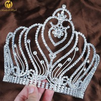 Princess Round Crown Tiara Silver Birdes Headband Clear Crystal Miss Beauty Pageant Wedding Bridal Hair Accessories