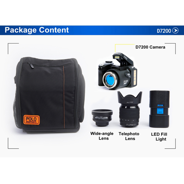 Protax/POLO D7200 33MP 1080P Digital DSLR Camera Body Camera Camcorder+LED Spotlight