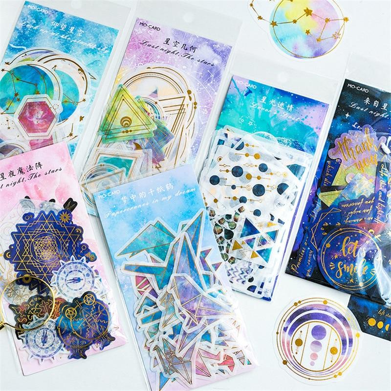 60pcs/bag Kawaii Bronzing Water Color Stars Paper Stickers Decorative DIY Scrapbooking diary Stationery Supplies papelaria 06487