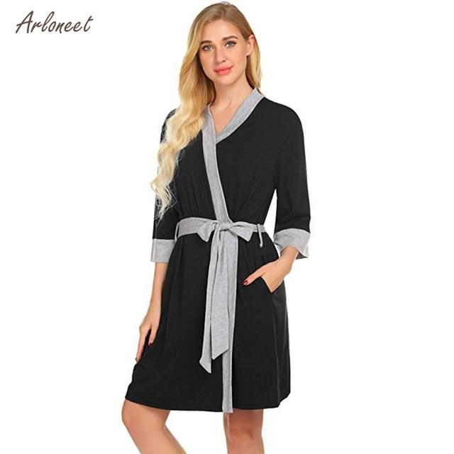 297b2d484c8 ARLONEET plus size pajamas pregnant Maternity Nursing Robe Delivery  Nightgowns Hospital Breastfeeding Gown 2019 fashion