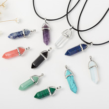 2017 New Arrival Fashion Women Vintage Crystal Bullet Natural Stone Quartz Necklace Pendant Choker Jewelry