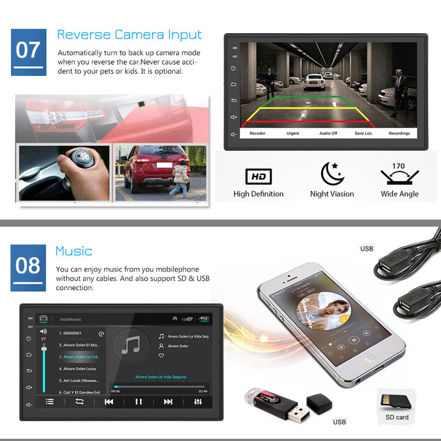 Podofo 2din Car Radio Android multimedia player Autoradio 2 Din 7'' Touch screen GPS WIFI Bluetooth FM auto audio player stereo 3