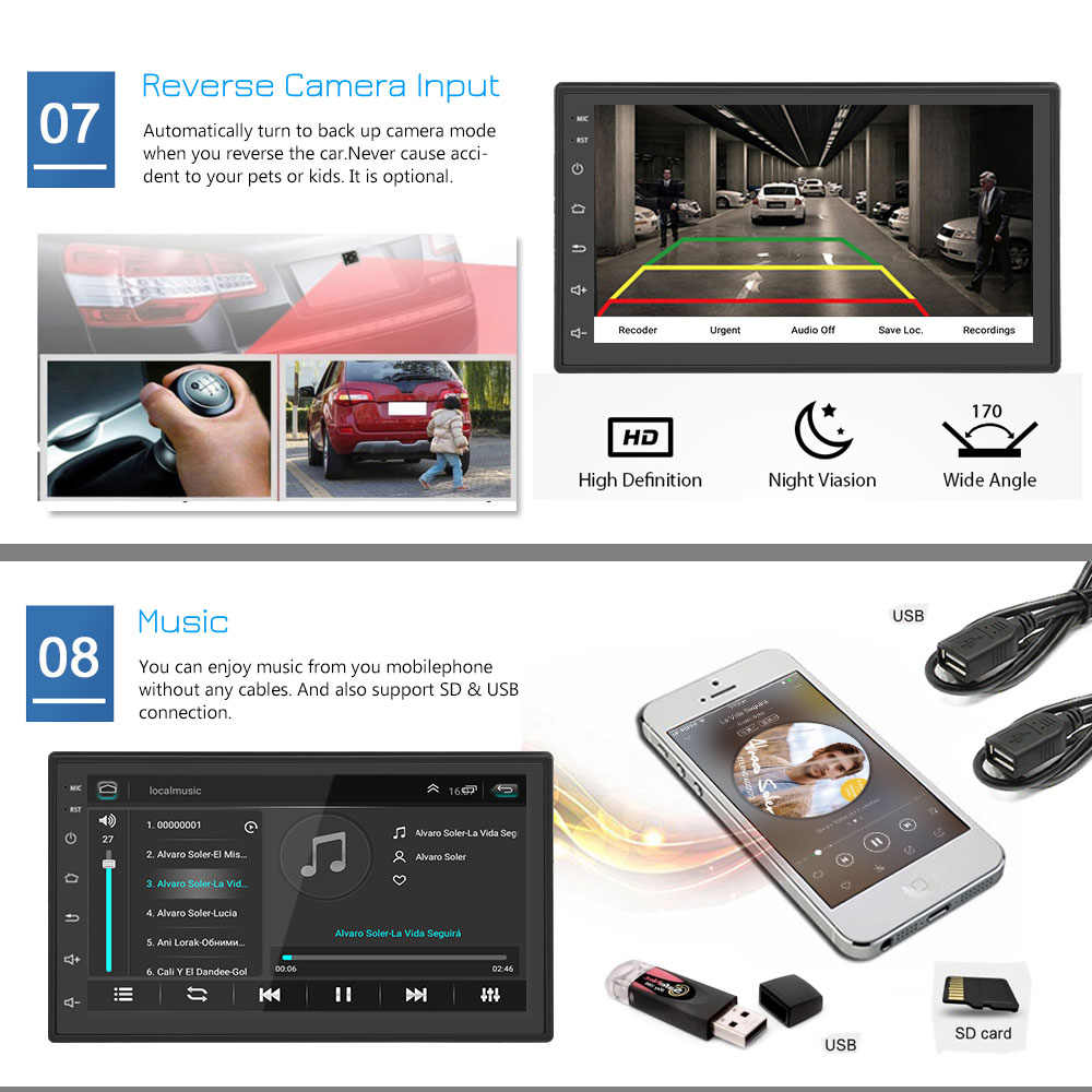 Podofo 2din Mobil Radio Android Multimedia Player Autoradio 2 DIN 7 Inci Layar Sentuh GPS WIFI Bluetooth FM Audio Mobil player Stereo
