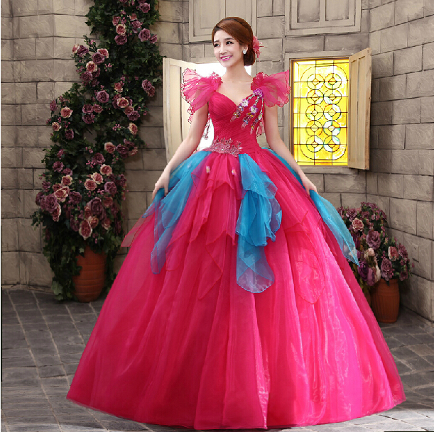 2014 red performance stage princess wedding party gown, colorful ...