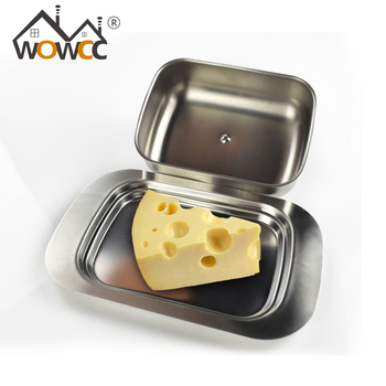 1pc Stainless Steel Butter Dish Box Container Shiny Cheese Server Storage Keeper Tray with Hold Lid  Fruit Salad Cheese Dish