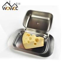 Edelstahl Butterdose Box Container Käse Serverspeicher Keeper tablett mit Einfach zu Halten Deckel pflege Obstsalat Käse gericht