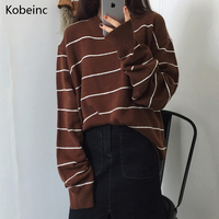 Kobeinc Autumn Winter Women Striped Sweater All Match O Neck Knitted Pullover Brief Warm Female Pullover