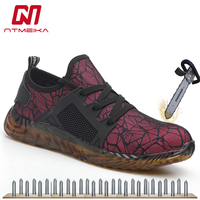 Breathable Lightweight Work Safety Shoes Men Steel Toe Sneaker Fashion Safety Sandals Work Boots Construction Protective Shoes
