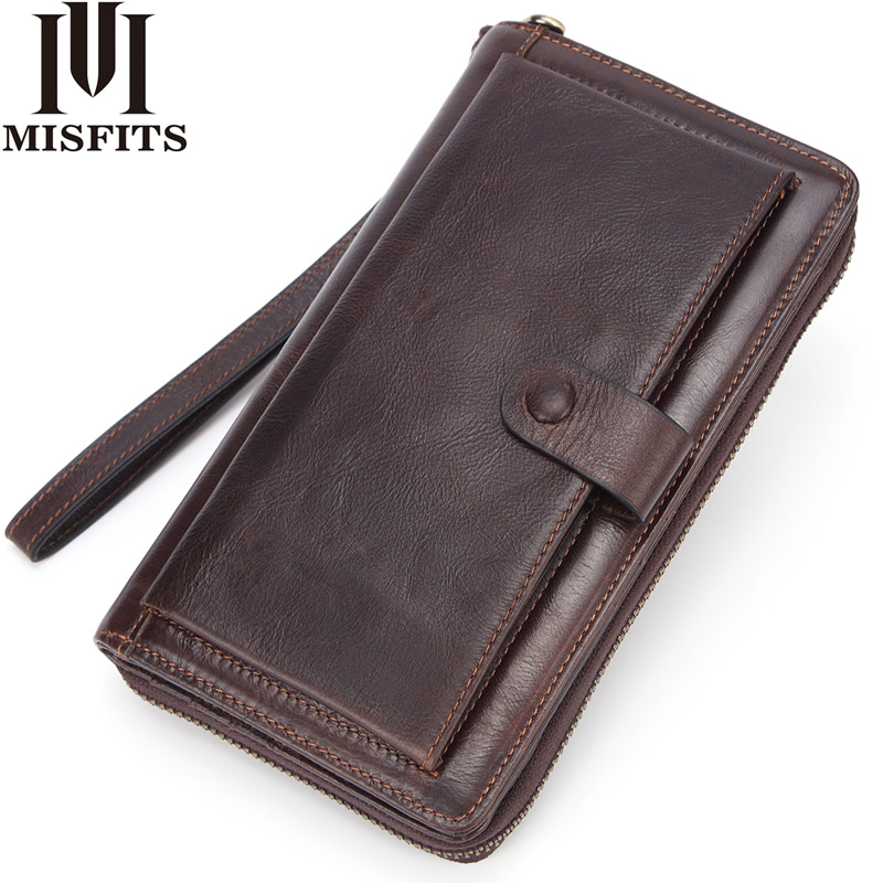 MISFITS Genuine Leather Clutch Wallet Men Long Wallet Luxury Brand Male Money Bag Travel Portomonee Purse With Cell Phone Pocket