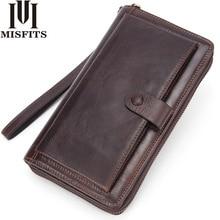 MISFITS Genuine Leather Clutch Wallet Men Long Wallet Luxury Brand Male Money Bag Travel Portomonee Purse With Cell phone Pocket цена