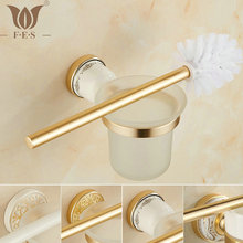 AG Series Golden Polish Space Aluminum Bathroom Toilet Brush Holders With Glass Cup Sets Wall Mounted