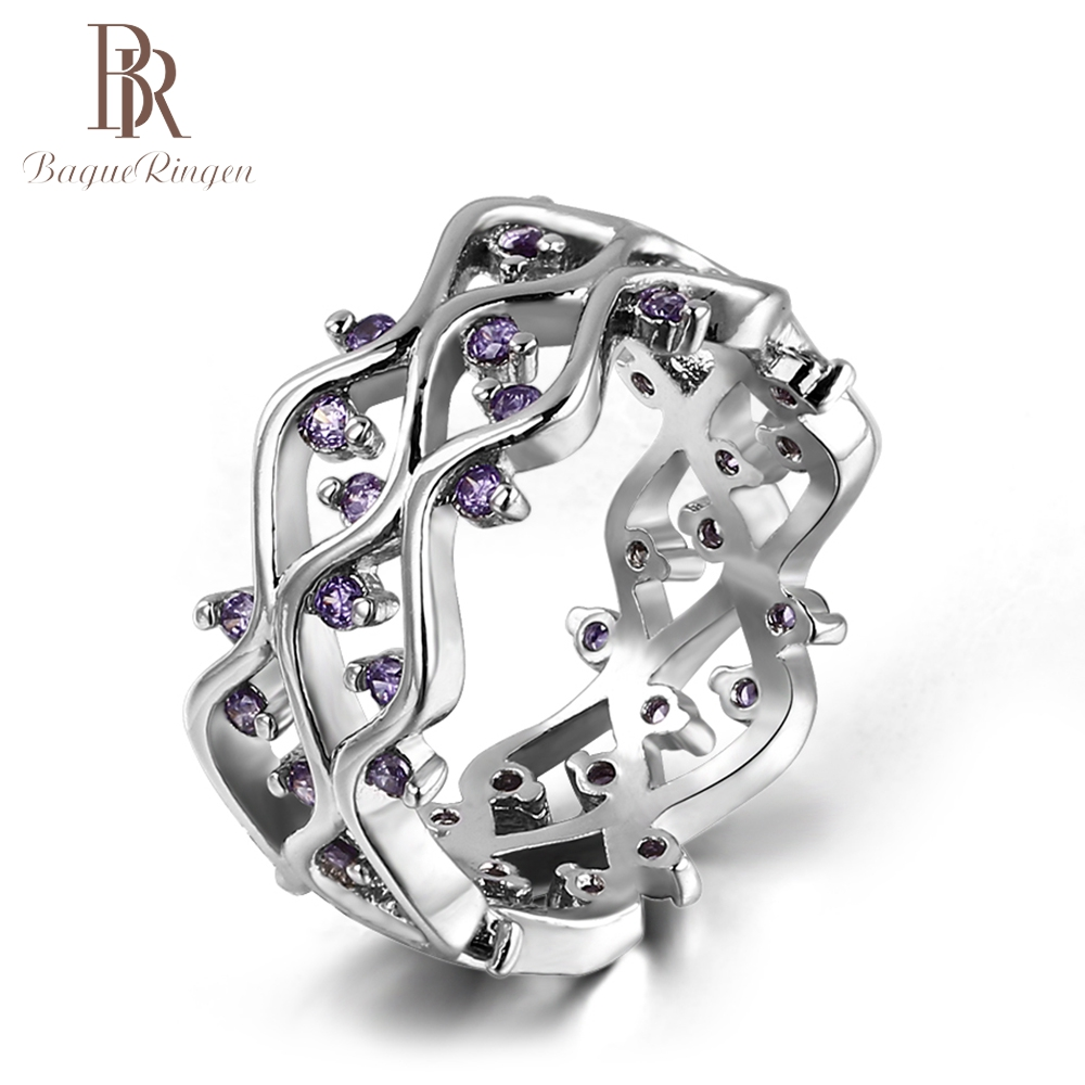 Bague Ringen Luxury Geometric Amethyst Rings For Women 925 Sterling Silver Wedding Engagement Hollow Ring Wholesale Jewelry Gift
