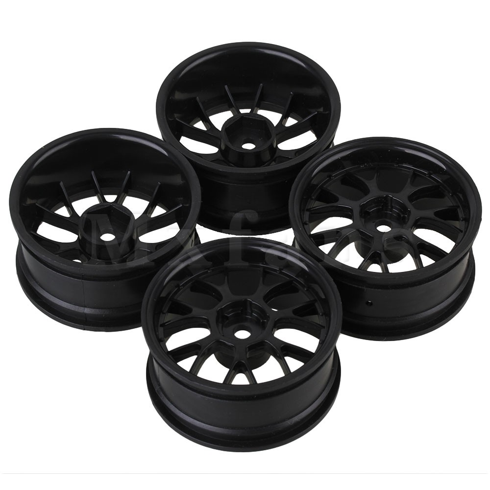 Remote Control Toys Mxfans Rc 1:10 On-road Car &drift Car Plastic Y Type Mxfans Wheel Rim Drive Hex 12mm Black Set Of 4 Be Friendly In Use Toys & Hobbies