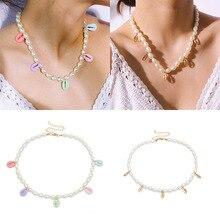 купить Boho Pearl Shell Choker Necklace Girls Collares Statement Shell Pendant Necklaces for Women Jewelry дешево