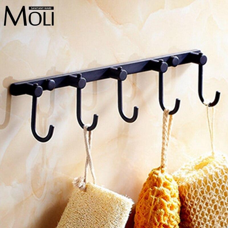 Rural home noir robe crochet mural bronze huilé cinq crochets chapeau manteau sac porte mur cintre salle de bains accessoires