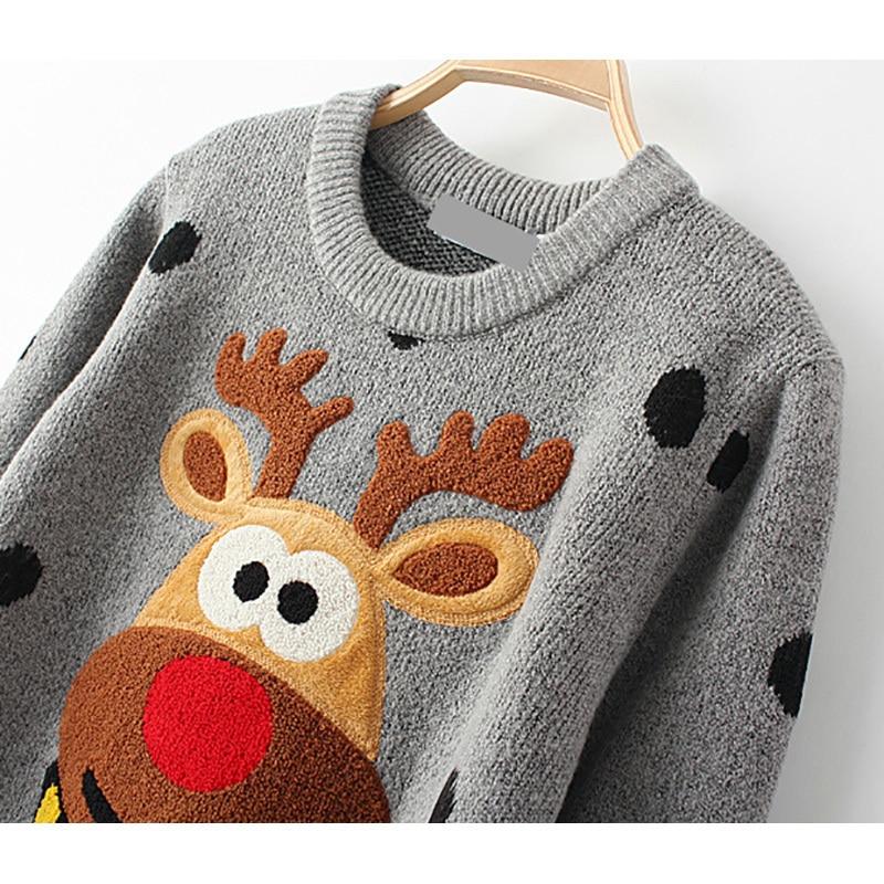 HTB1gIyIeoRIWKJjSZFgq6zoxXXaU - Ugly Christmas Deer Sweater Women Winter 2017 Cotton O Neck Gray Jumper Knitted Pullover Sweater PTC 288