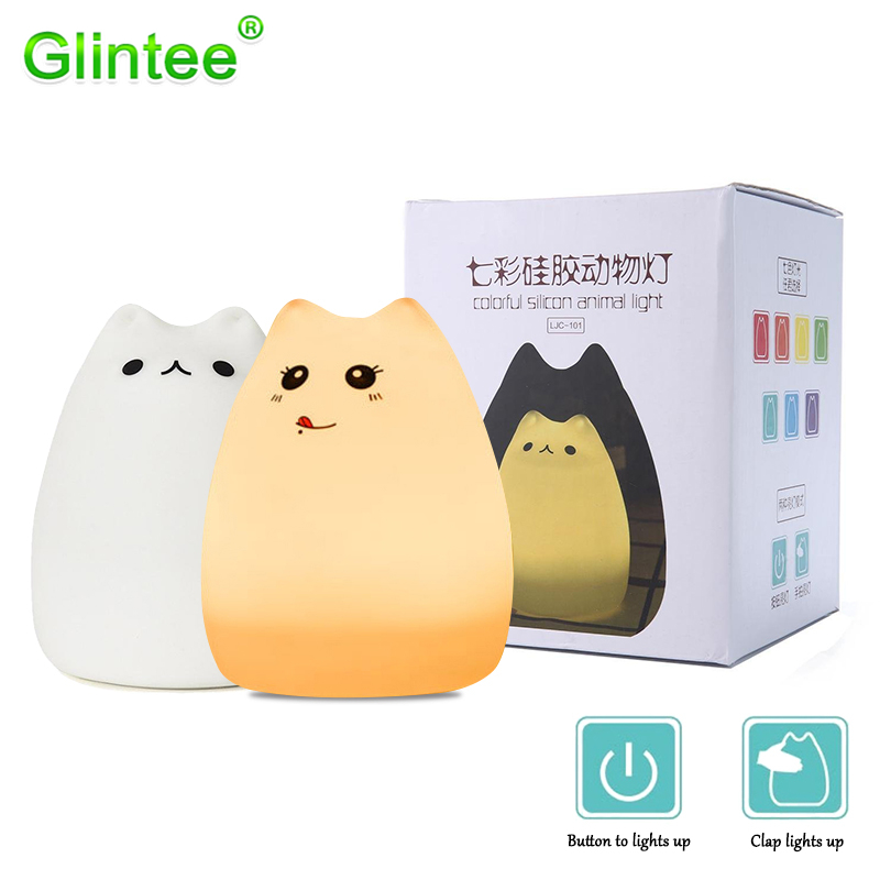 Cute Cat Soft LED Night lights Silicone Touch Sensor Cartoon Animal Kitty Lighting Colorful Lamps USB Rechargeable Children Gift cute little cat kitty animal 3d lampen 7 color usb night lamp led lights for kids birthday gift support dropshipping