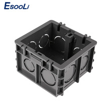 Esooli High Strength Mounting Box Internal Cassette 82mm * 76mm * 50mm For 86 Type Switch and Socket, Black Wiring Back Box