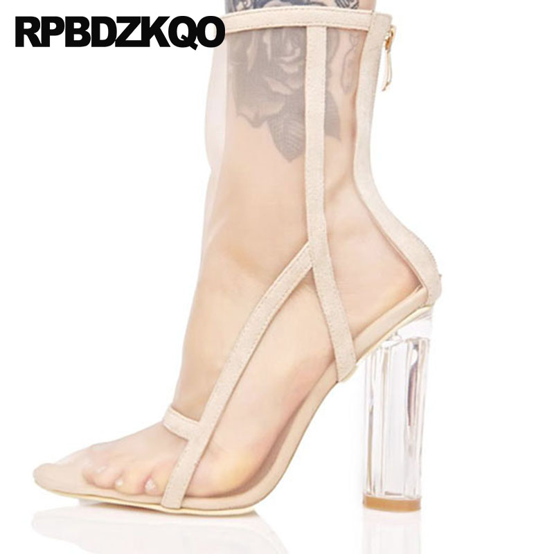 High Heel Fashion Summer Transparent Big Size Mesh Mid Calf Boots Chunky Designer Shoes Women Luxury 2018 Sandals Pointed Toe