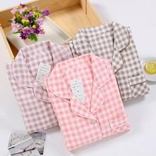 Special Price Men and Women Plaid Pijamas 100% Cotton Double-layer Gauze Long-sleeved Pajamas  Summer Couple Pyjamas Sleepwear