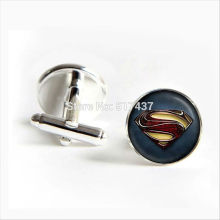 J-922 wholesale Man of Steel Cufflinks Justice League Picture Cuff link Silver Shirt Cufflinks For Mens