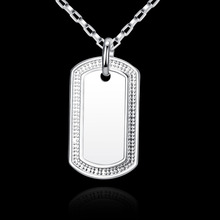 hot deal buy 2015 new arrived 925 sterling silver jewelry loverly dog tag pendant with chains necklace for men's fine  jewerly wholesale