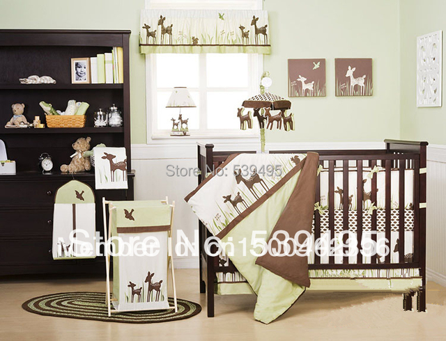 9 pieces Crib Infant Room Kids Baby Bedroom Set Nursery Bedding  Green Beer Organic cotton cot bedding set for newborn boy girl