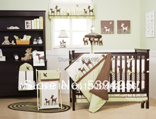 9 pieces Crib Infant Room Kids Baby Bedroom Set Nursery Bedding  Green Beer Organic cotton cot bedding set for newborn boy girl