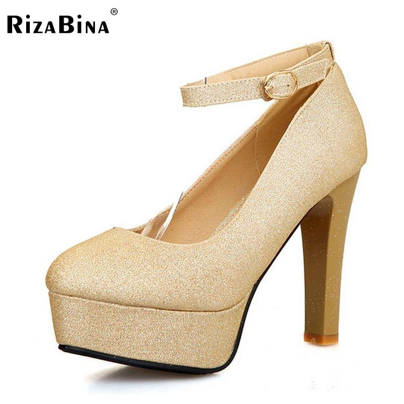 RizaBina women thin high heel shoes round toe platform brand female fashion heeled pumps heels shoes plus big size 30-50 P16615