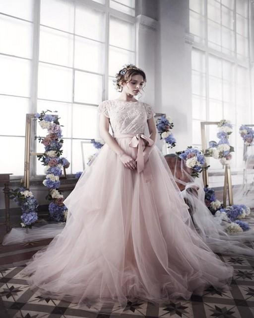 f6d12de2cb US $172.0 |2017 Modest Keyhole Backless Wedding Dress Jewel Lace Top  Vestido De Noiva Blush Pink Tulle A Line Bridal Gowns Bohemian Vintage-in  Wedding ...