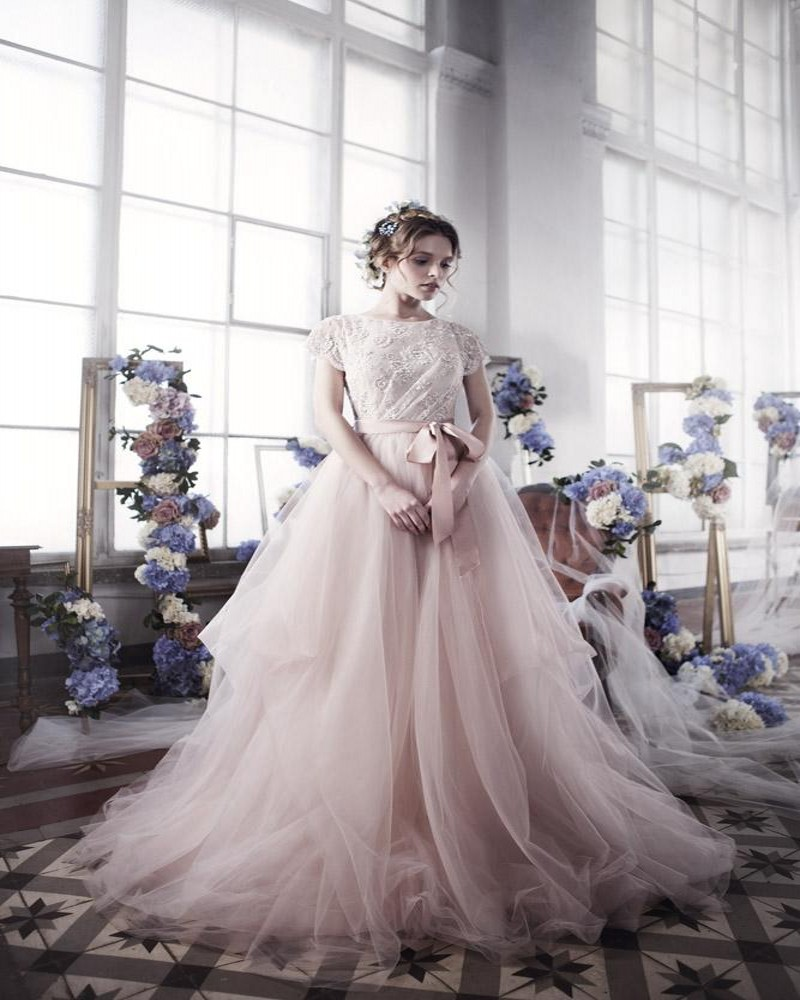 blush gown blush tulle wedding dress Blush Ball Gowns