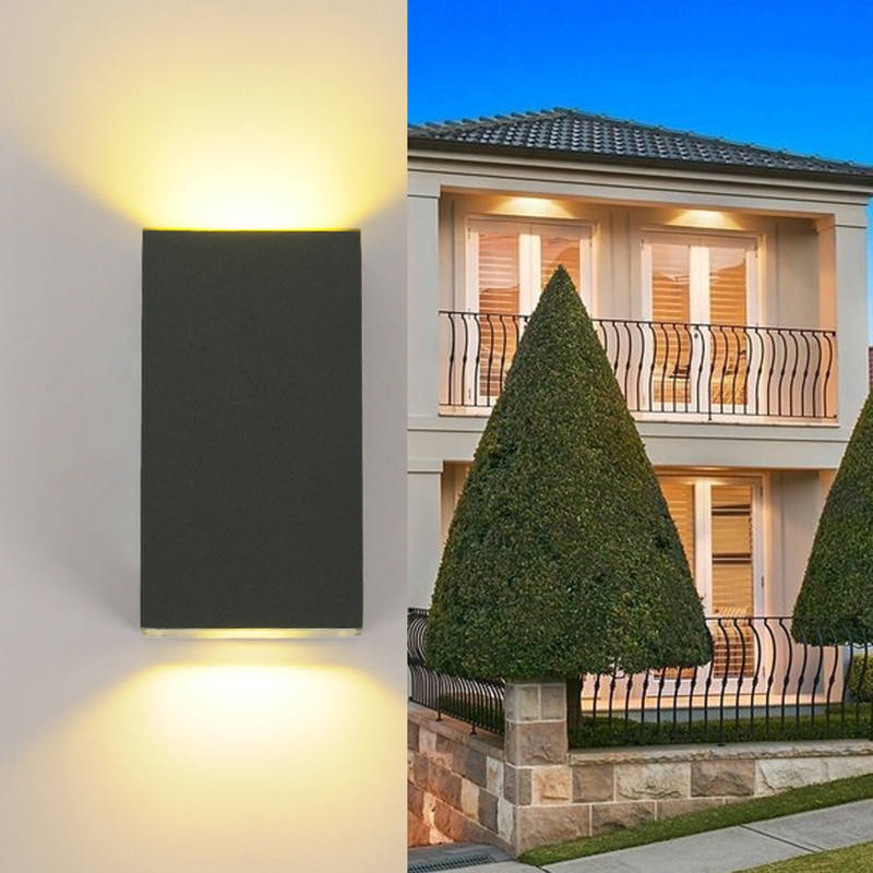 6W Led Wall Sconces Lights IP65 Surface Mounted Outdoor Cube Lamp Waterproof Up Down