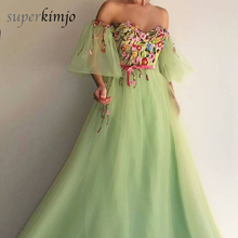 Green Prom Dresses Sweetheart Neckline Embroidery Flowers A Line Short Sleeve Arabic Evening Gowns