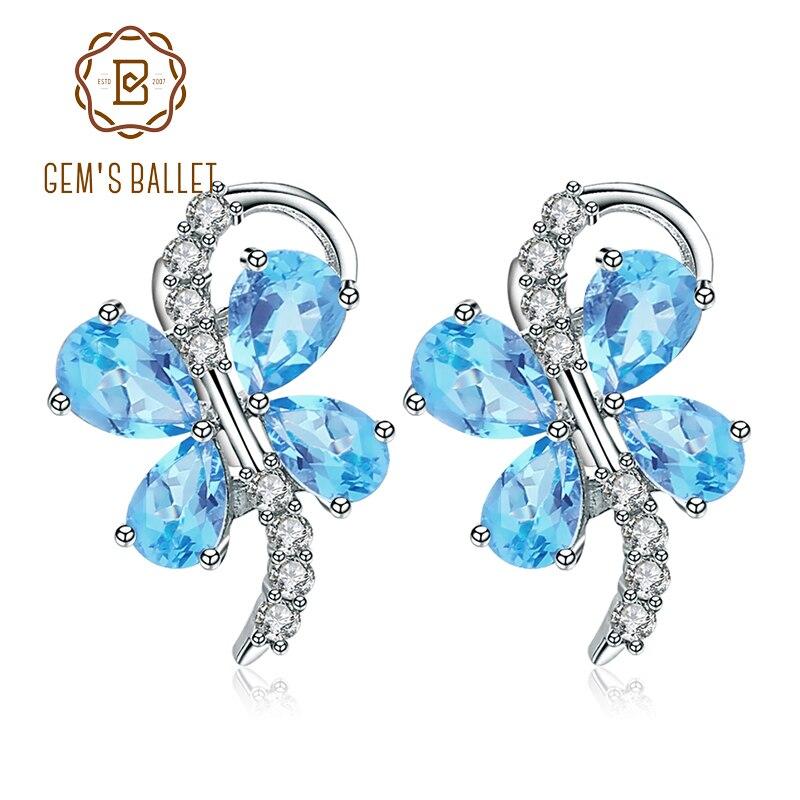 GEM'S BALLET mignon papillon forme naturel bleu topaze pierres précieuses 925 en argent Sterling boucles d'oreilles pour les femmes romantique beaux bijoux