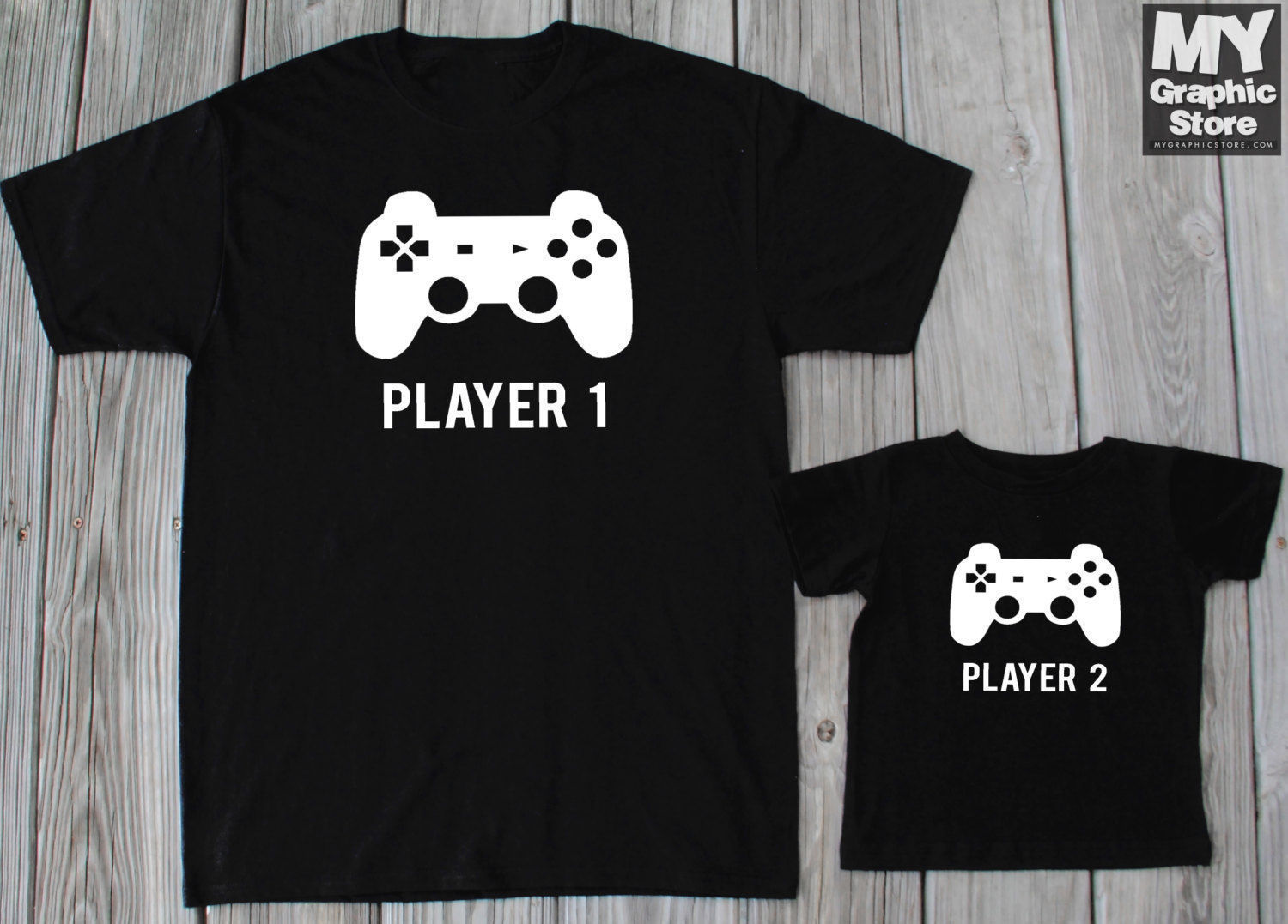 Player 1 Player 2 T-shirts Father Baby Gaming Shirts Daddy Son Matching Shirts ...