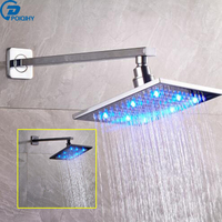 POIQIHY 8'' LED Chrome/black brone Brass Shower Head Shower Pipe wall mounted Shower Head bathroom accessories