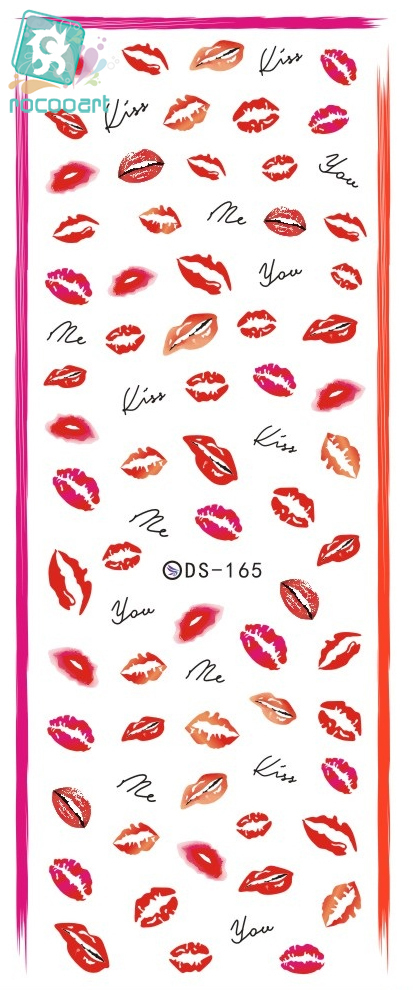 Rocooart DS165 Water Transfer Nails Art Sticker Kiss Me Red Lips Elements Nail Wrap Sticker Manicura nail art decorations rocooart dls377 382 water foils nail art sticker fashion nails cartoon harajuku sailor moon decals minx nail decorations