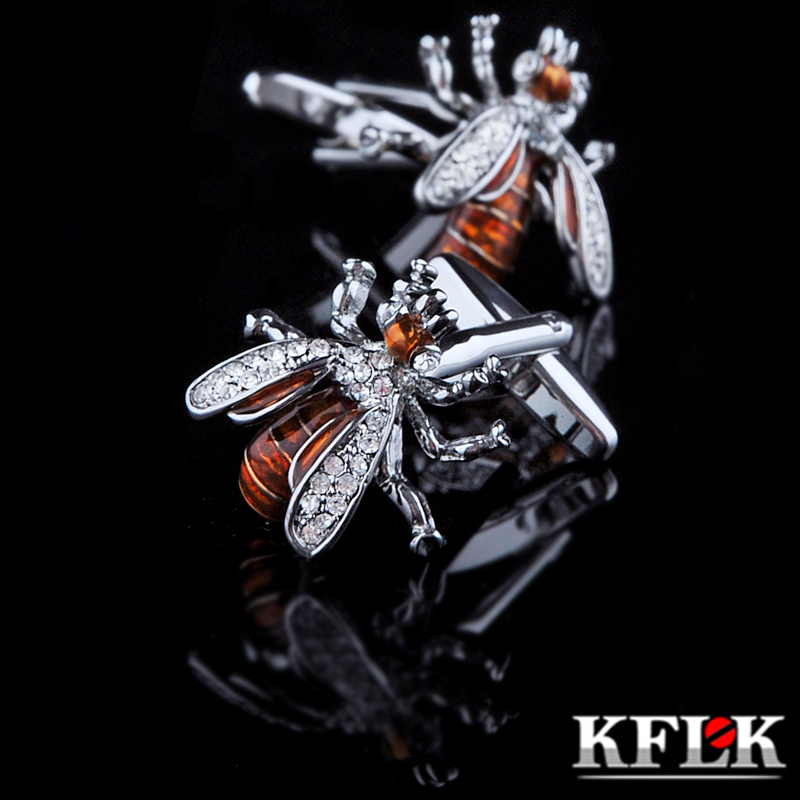 KFLK Jewelry Shirt Cufflinks For Mens Brand Crystal Cuff Link Wholesale Luxury Button Male High Quality Animal Bee Free Shipping